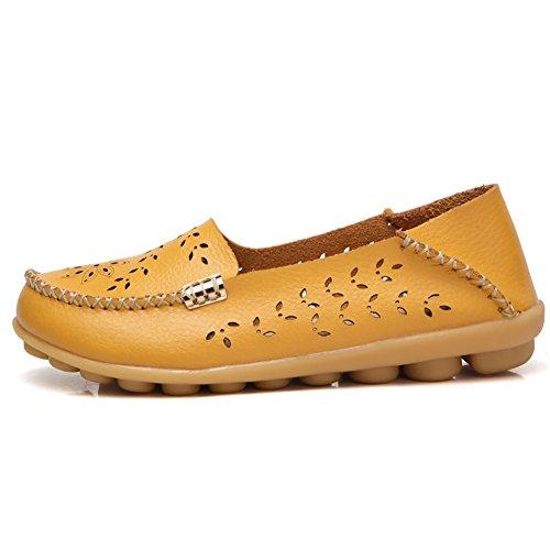 Lingtom Kvinna Tillfälliga Läder Loafers Platt Körning Slip-on Skor Gul