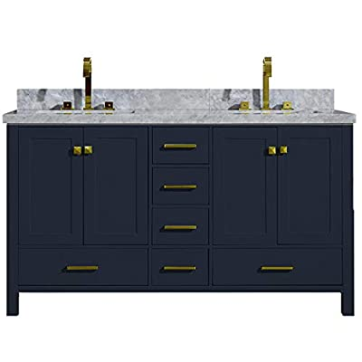 "ARIEL Cambridge A061DCWRVOMNB 61"" Inch Double Sink Bathroom Vanity Cabinet in Midnight Blue With Carrara White Marble Countertop Rectangular Sinks - ✅ CONSTRUCTION: Experience the luxury of having the well-crafted cabinetry that will make you undergo a refreshing experience like never before. ARIEL brings to you the finest bathroom vanities that will not just add value to your bathroom décor but also make the access to toiletries much easier ✅ DESIGN: Double sink vanity cabinet with 4 soft-closing doors with adjustable hinges and 6 full-extension self-closing drawers with under-mount drawer glides for added stability to meet all your storage needs. Your energizing splashes with the water will not deteriorate the supreme Solid hardwood plywood construction ✅ FEATURES: Carrara White Marble countertop with 1.5"" edge and matching backsplash. Painted with midnight blue to complement your contemporary bathroom space. 2 UPC certified rectangular ceramic under-mount sink and satin brass finish hardware included - bathroom-vanities, bathroom-fixtures-hardware, bathroom - 4143%2Bm2oQbL. SS400  -"