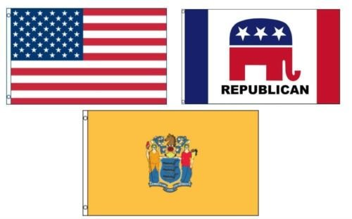 Moon 3x5 American & Republican & State of New Jersey Wholesale Set Flag 3x5 - Vivid Color and UV Fade Resistant - Prime Outside Garden Home Decor