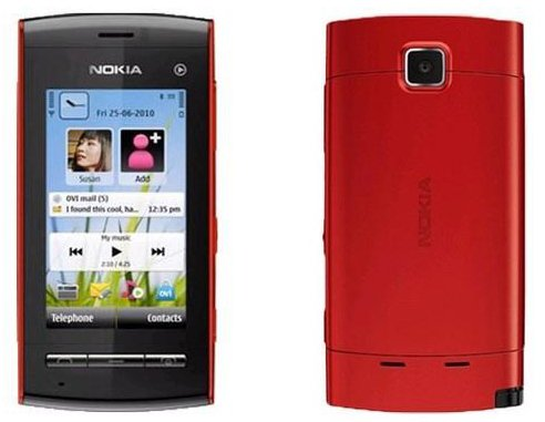Unlocked Nokia 5250 Original Genuine Music Touch screen Smart Bar Mobile phone (Red)