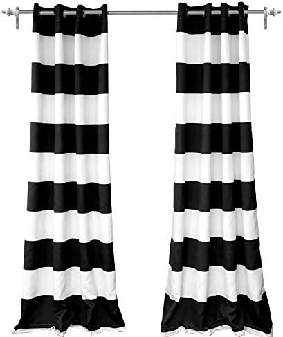 DriftAway Mia Woven Stripe 100 Percent Blackout Thermal Insulated Window Curtain Grommet 2 Panels Each 50 Inch