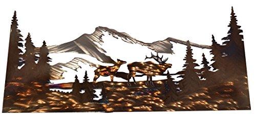Elk & Cow w/Open Mountain Scene Panel-Metal ()