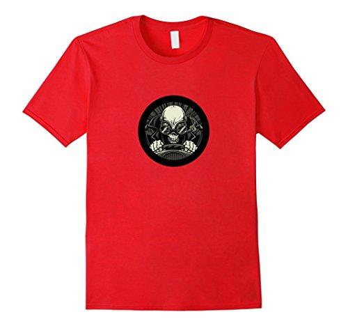 Hot Rod Skull (Mens Hot Rod Skull - Old School Graphic Art T-shirt Small Red)