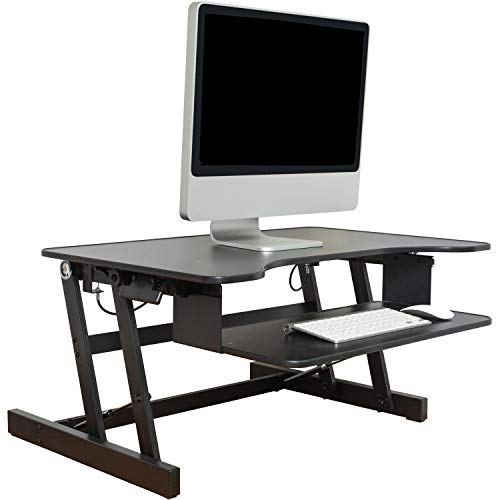 - Lorell Sit-to-Stand monitor riser, black