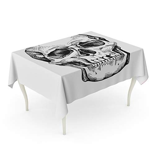 (Tarolo Rectangle Tablecloth 60 x 84 Inch Drawing Frontal of The Skull Sketch Anatomy Black Bone Brutal Table Cloth)