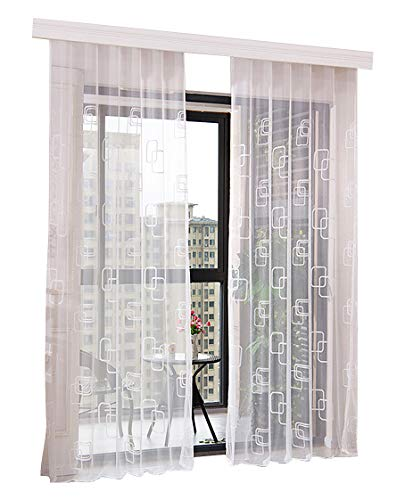 Smibra Sheer Fashion Style Sheer Voile Curtains Panels Rod Pockets Geometric Embroidered Home Treatment for Sitting Room Kitchen and Children Room (1 Panel, W 50 x L 63 inch, White)