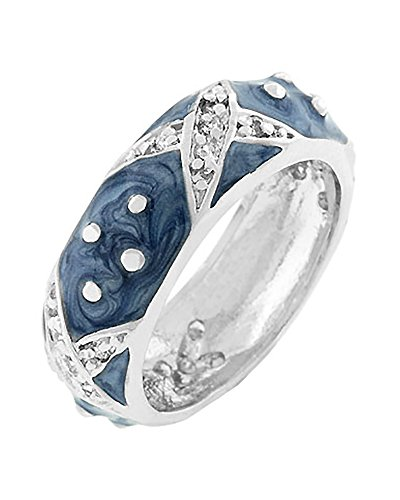 Dot Enamel Band - Light Blue Enamel Overlay Eternity Ring with Handset Clear CZ Xs and Polk-a-dots Size 10