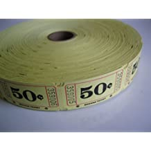 2000 Yellow 50 cents Single Roll Consecutively Numbered Raffle Tickets