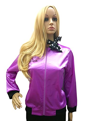 Danny Dress Fancy Grease Costumes (Tdmall Rhinestone Ladies 1950s Pink Satin Grease Jacket With Neck Scarf T Bird Women Danny Costume Fancy)