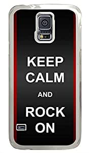 O Keep Calm Rock On PC Transparent Hard Case Cover Skin For Samsung Galaxy S5 I9600