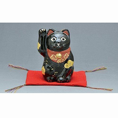 Kiyomizu-kyo yaki ware. Japanese ceramic ornament. Beckoning cat black. Fortune manekineko. kymz-ERM139
