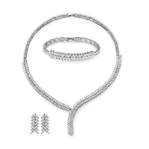 MASOP Sparkle Cubic Zircon Women Jewelry Set for Wedding Marquise Leaf Shape Bracelets Earrings Necklace ()