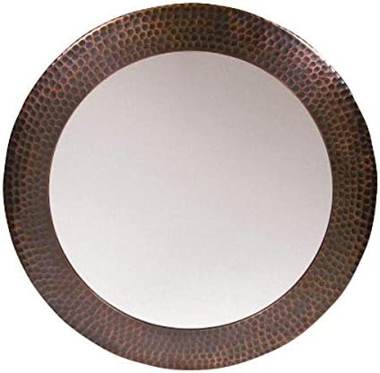 The Copper Factory CF139AN Solid Hammered Copper Framed Round Mirror Antique Copper