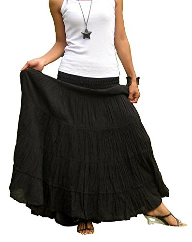 Tiered Peasant Skirt (Women's Plus Size Long Maxi Pleated Skirt With Elastic Waist One Size Fits Most. Black)