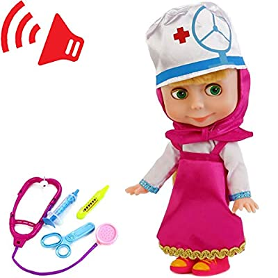 Masha Doll Plays in The Doctor with Toy Medical Accessories Talking in Russian: Toys & Games