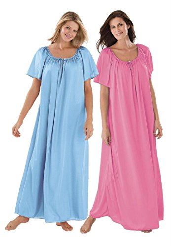 Only Necessities Women's Plus Size Long Tricot Knit 2-Pack Nightgown (Rose Sky
