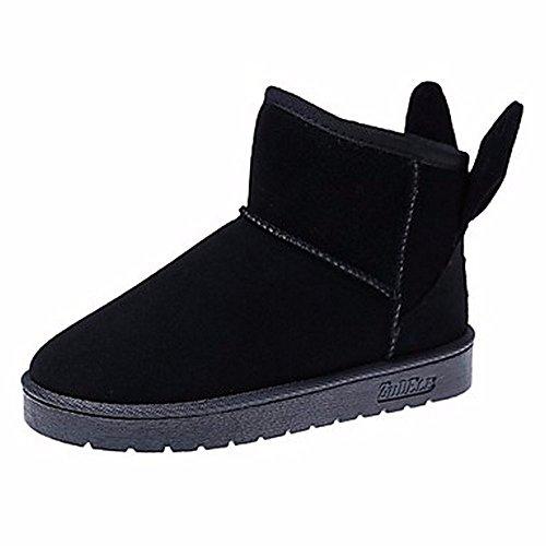 ZHUDJ Damen Schuhe Winter Stiefel Round Toe Mid-Calf Stiefel Für Casual Rot Pink Grau Schwarz Black