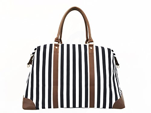 Cyber-Monday-Sale-2017, Holiday-Deals, Sales - Black Travel Tote, Lulu Dharma Womens Striped Weekender Bag, Duffle Bag, Overnight Bag, Travel Bag, Luggage, Suitcase, Oversized Bag, Carry On Luggage by Lulu Dharma (Image #2)