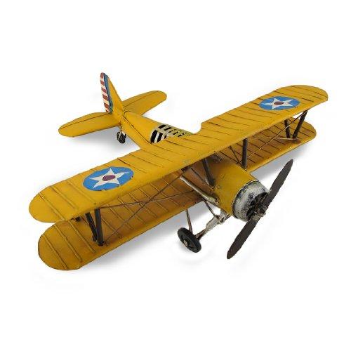 Biplane Yellow - Things2Die4 Yellow and Blue Metal Bi-Plane Sculpture 13 in.