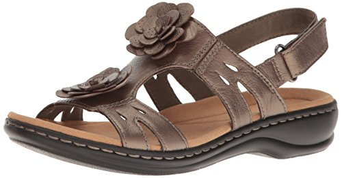 CLARKS Women's Leisa Claytin Flat Sandal, Pewter Metallic Leather, 9 M US