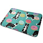 "Border Collie Dogs Donut Fabric Cute Donuts Design Cute Border Collies Fabrics Border Collies Fabrics Floor Bath Entrance Rug Mat Absorbent Indoor Bathroom Decor Doormats Rubber Non Slip 15.7"" X 23.5"" 5"