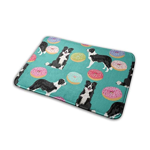 "Border Collie Dogs Donut Fabric Cute Donuts Design Cute Border Collies Fabrics Border Collies Fabrics Floor Bath Entrance Rug Mat Absorbent Indoor Bathroom Decor Doormats Rubber Non Slip 15.7"" X 23.5"" 1"