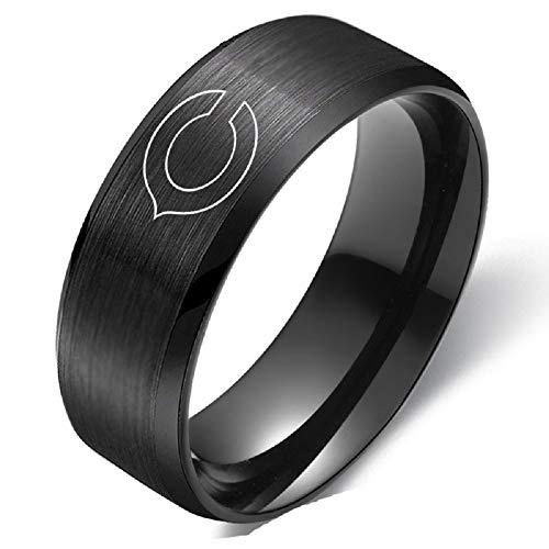 Black Titanium Chicago Bears Ring Football Steel Men Sport Ring Band Size 6-13 (13)
