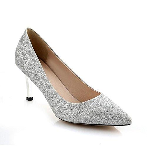 DIMAOL Chaussures Pour Femmes de Similicuir Printemps Automne Comfort Heels Talon Chaussures Pour Mariage et Soirée Or Argent,Argent,US6/EU36/UK4/CN36