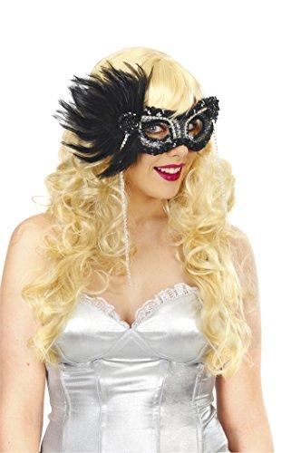[Magik Costumes Women's Noir Glitter Feather Mask OSFM Black] (Glitter Wigs)
