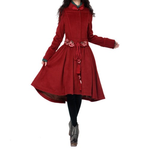Artka Womens Frog Buttons Embroidery Belted Wool Dress Coat,Burgundy Red,XL