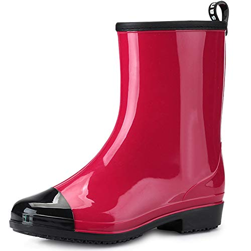 JOINFREE Womens Mid Calf Rain Shoes Outdoor Work Waterproof Garden Boots Slip-on Rubber Shoes Red 9 M US
