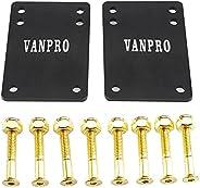 vanpro Skateboard Deck Trucks Risers PU Shock Pads Mounting Hardware Screws Outfits (Snow Golden, Pack of 1 Se