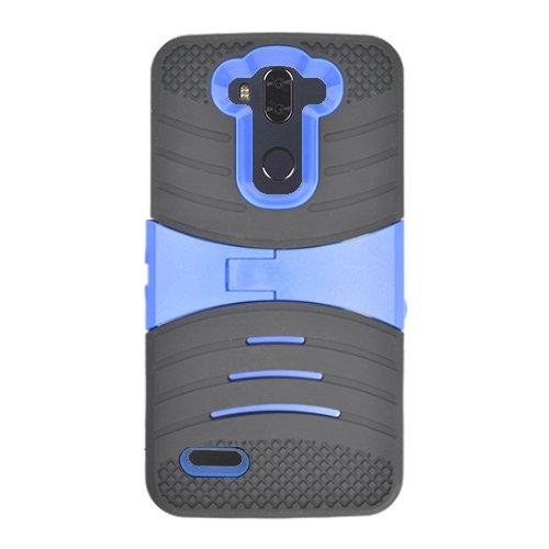 ZTE Max XL Case, Phone Case For Straight Talk ZTE Max Blue 4G LTE / Walmart Family Mobile ZTE Max Blue 4G LTE Prepaid Smartphone, ZTE Blade Max 3 Case, Hard Armor Cover Case Kickstand (Black-blue)