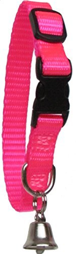 Image of Sandia Pet Products REGULAR Neon Pink Ferret Collar with Bell - Adjustable 6 to 8 Inches
