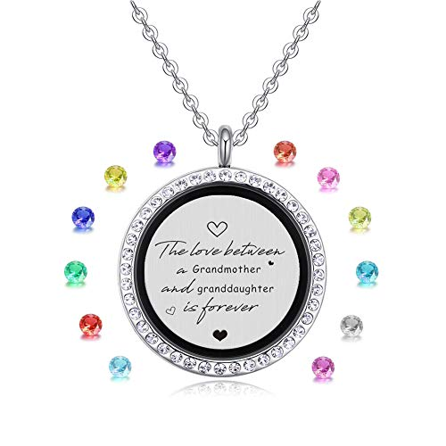 (XBRose The Love Between a Grandmother and Granddaughter is Forever Floating Living Memory Locket Pendant Necklace with Birthstone Charms, Birthday, Christmas Day (Granddaughter))