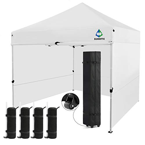 Sunnotic 10 x10 Canopy Tent Pop Up Canopy Portable Shade Instant Heavy Duty Event Gazebo White Pop Up Tent with Carry Bag Bonus 4 SandBags Weight for Outdoor Wedding Party Tent Commercial BBQ Beach