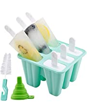Popsicle Molds, 6 Pieces Silicone Ice Pop Molds BPA Free Popsicle Mold Reusable Easy Release Ice Pop Maker with Silicone Funnel and Cleaning Brush (Green)