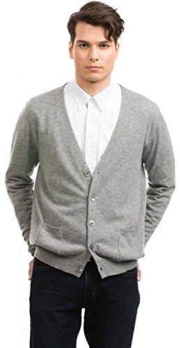 Mens Cardigan V-Neck - 100% Cashmere - Citizen Cashmere (Grey L) 42 133-05-03 by Citizen Cashmere