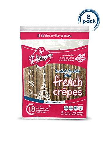 La Boulangere Chocolate Hazelnut Filled Crepes - Non GMO - Individually Wrapped - Pack of 2, 18-Count (36 Total Crepes)