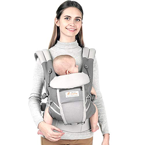 Maydolly Baby Carrier, 5-in-1 Convertible Carrier Ergonomic, Soft Breathable Mesh Cmfortable, Front and Back Carrier, with Head Support, Padded Shoulder Strap (Grey)