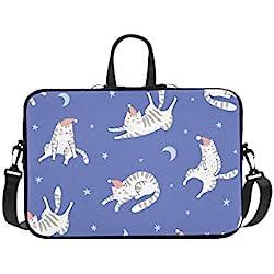 Funda para Laptop Gatos para Dormir Blue Night Starry Sky Impermeable Laptop Hombro Messenger Bag Pouch Bag Case Tote con asa Se Adapta a 14 Pulgadas Netbook/La