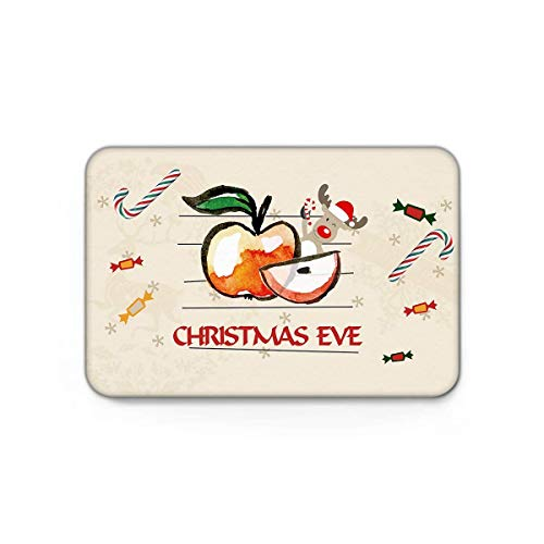 Non-Slip Doormats Mud Dirt Trapper Mats Entrance Rug Shoes Scraper Indoor/Kitchen/Bedroom Christmas Decorations Collection Xmas Eve Sliced Apple Reindeer and Candy Cane Graphic Art Print 15.7x23.6in