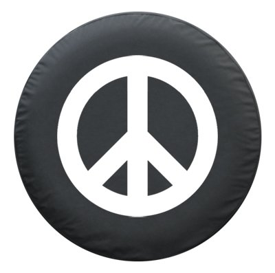 "28"" Peace Sign - Spare Tire Cover - (Black Denim Vinyl) - White"