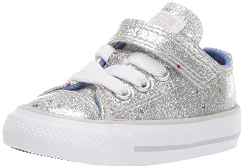 Girls Converse All Stars (Converse Girls' Chuck Taylor All Star 1V Galaxy Glimmer Sneaker, Silver/Ozone Blue/White, 8 M US)