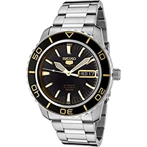 Seiko Men's SNZH57 Seiko 5 Automatic Black Dial Stainless-Steel Bracelet Watch