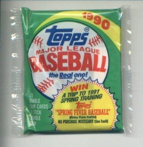 1990 Topps Major League Baseball Pack: The Real One! -- 16 Bubble Gum Cards