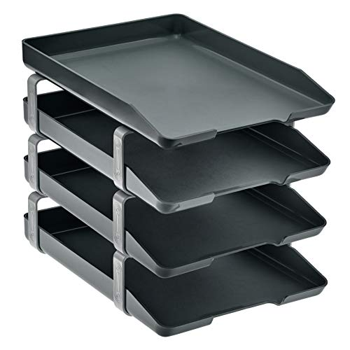 Acrimet Traditional Letter Tray 4 Tier Frontal, Plastic Desktop File Organizer (Black)