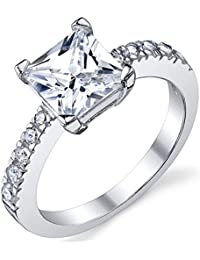 1.25 Carat Princess Cut Cubic Zirconia CZ Sterling Silver 925 Engagement, Wedding Ring Sizes 5 to 8