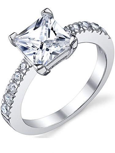 (1.25 Carat Princess Cut Cubic Zirconia CZ Sterling Silver 925 Engagement, Wedding Ring Size 6)