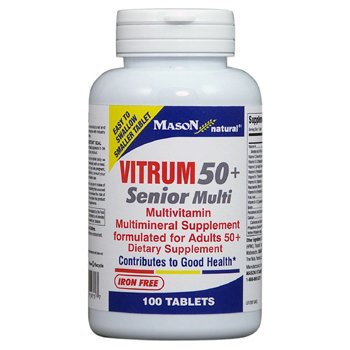 Senior Formula 100 Tablets - Mason Natural Vitrim 50 Plus Senior Multivitamin and Multimineral Supplement Formula for Adults Tablets - 100 Ea